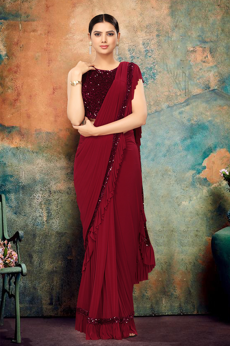Festive Special Function Wear Maroon Color Ruffle Saree In Lycra Fabric