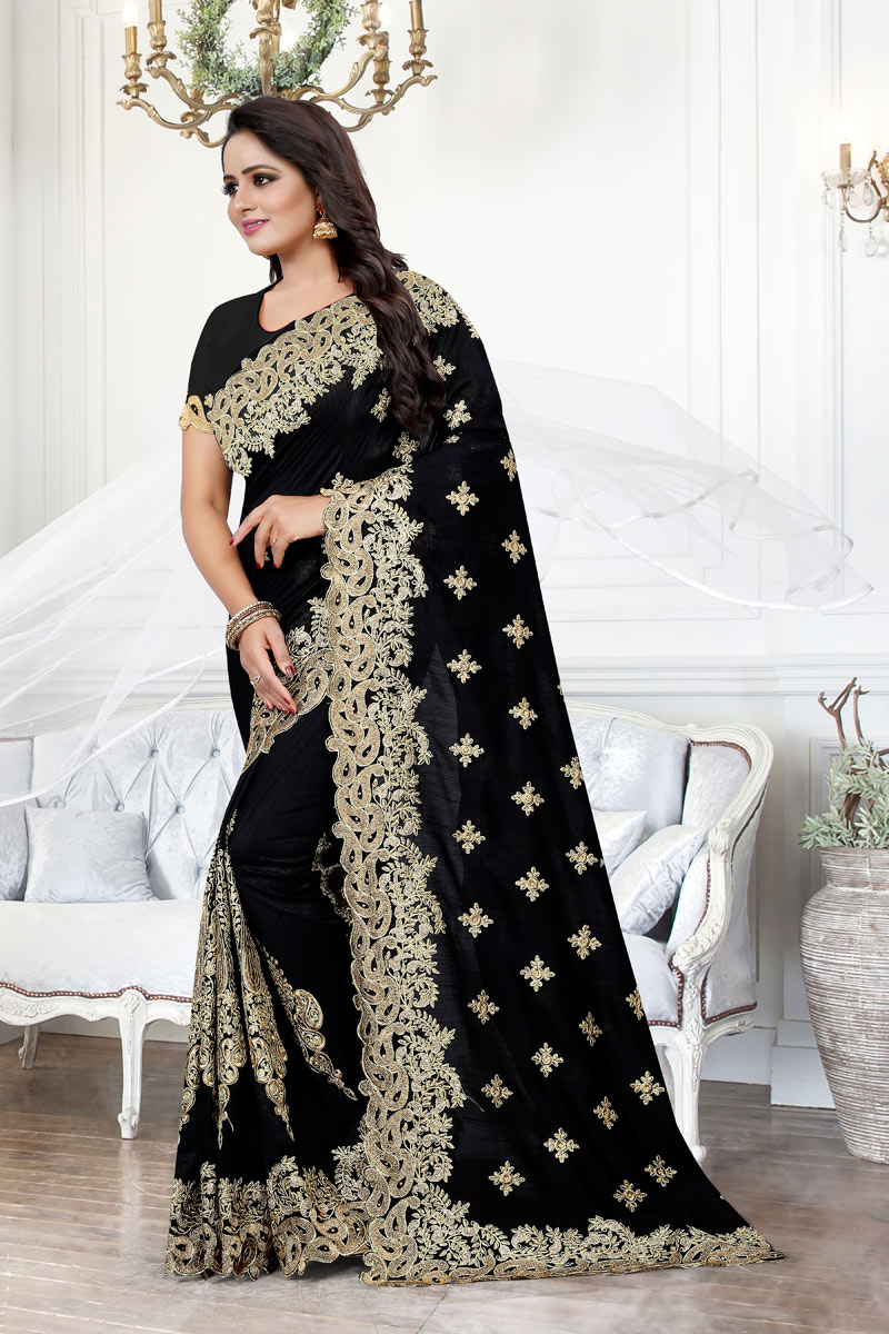 Art Silk Fabric Black Occasion Wear Saree With Embroidery Work And Designer Blouse