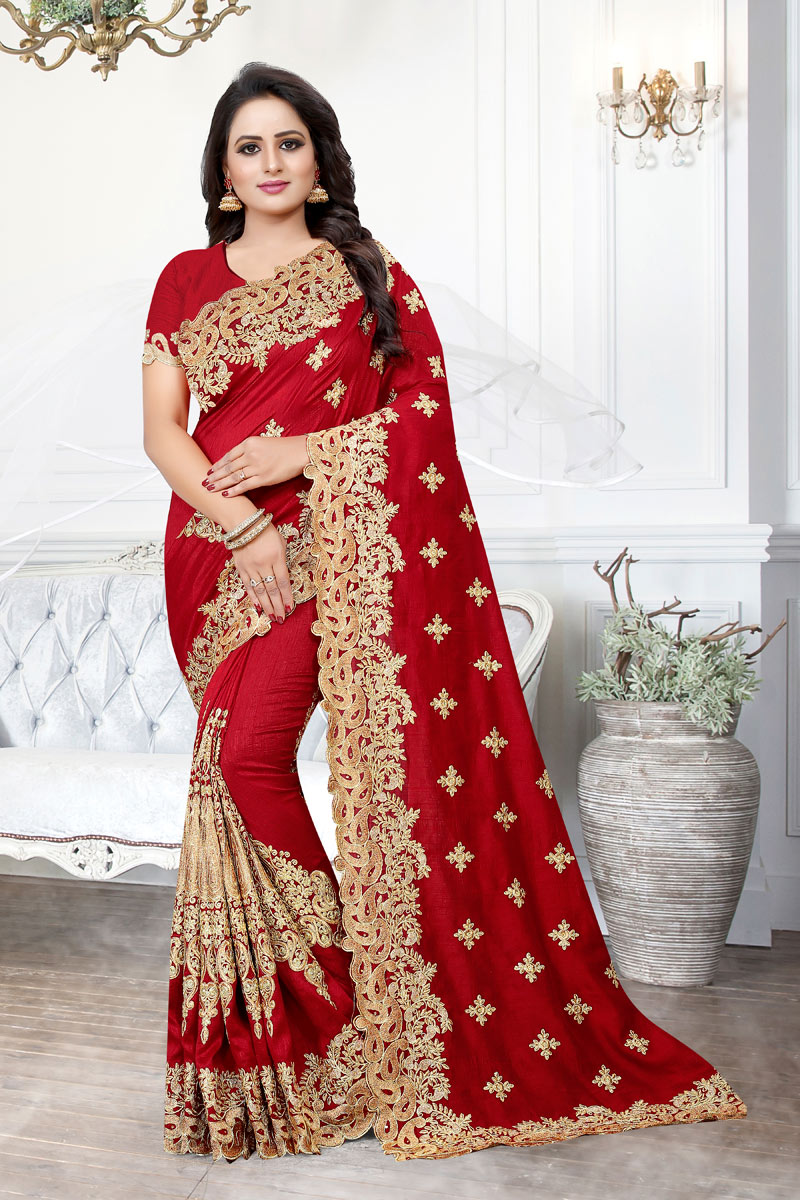 Embroidery Designs On Art Silk Fabric Red Party Wear Saree With Mesmerizing Blouse