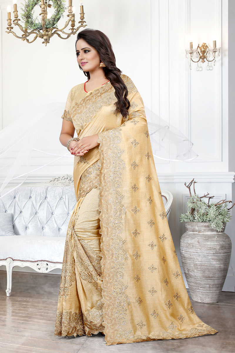 Cream Art Silk Fabric Designer Saree With Embroidery Work And Party Wear Blouse