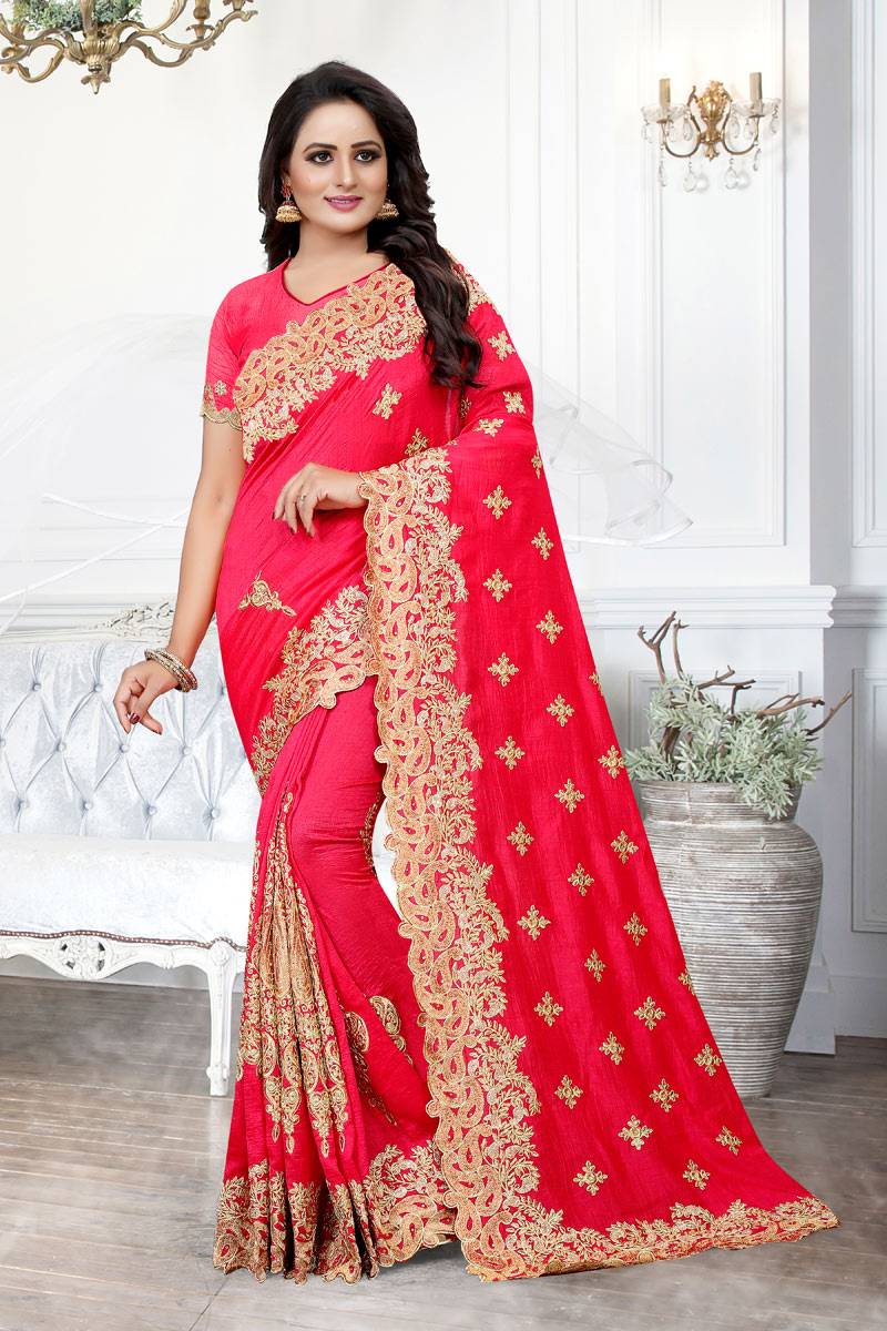 Art Silk Fabric Embroidery Work On Rani Occasion Wear Saree With Enchanting Blouse