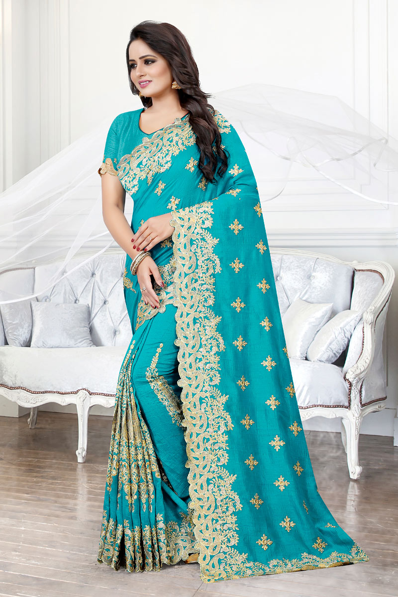 Embroidery Work On Art Silk Fabric Cyan Function Wear Saree With Party Wear Blouse