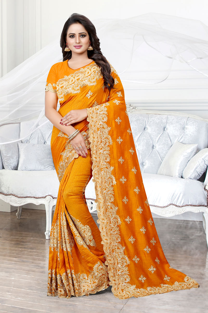 Embroidery Designs On Orange Art Silk Fabric Party Wear Saree With Designer Blouse
