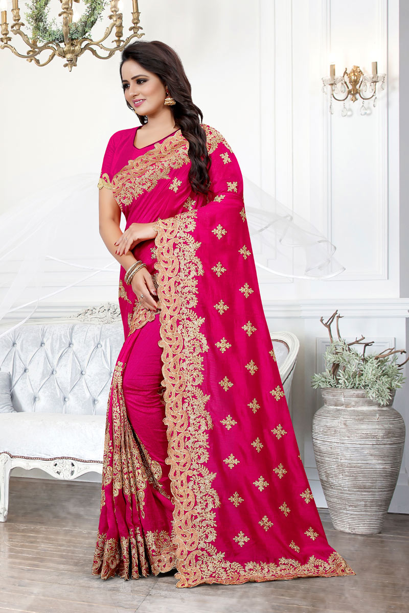 Dark Pink Art Silk Fabric Designer Saree With Embroidery Designs And Enchanting Blouse