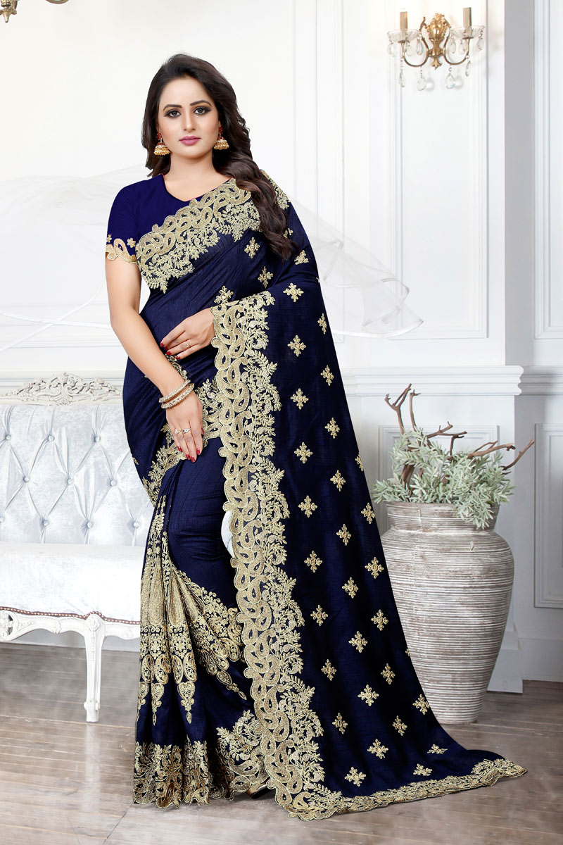 Embroidery Designs On Art Silk Fabric Occasion Wear Saree In Navy Blue With Enticing Blouse