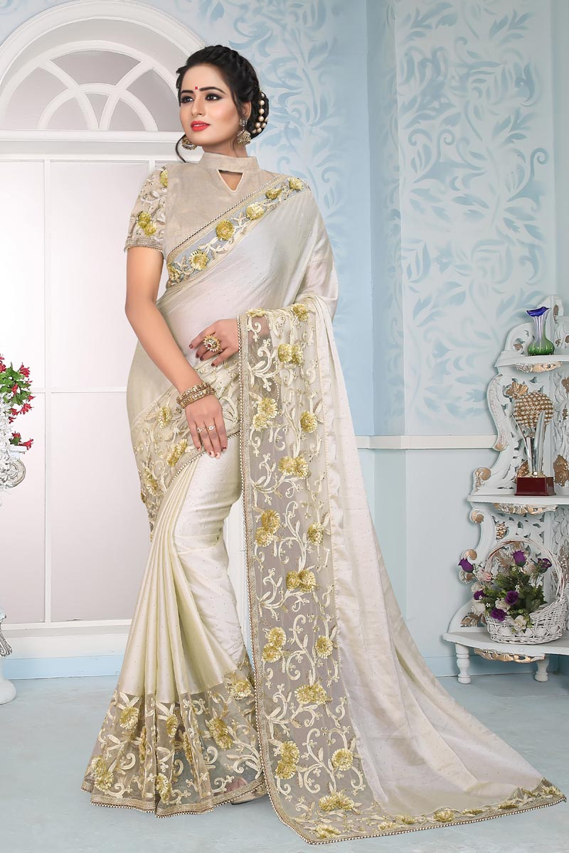 Off White Art Silk Fabric Occasion Wear Saree With Embroidery Work