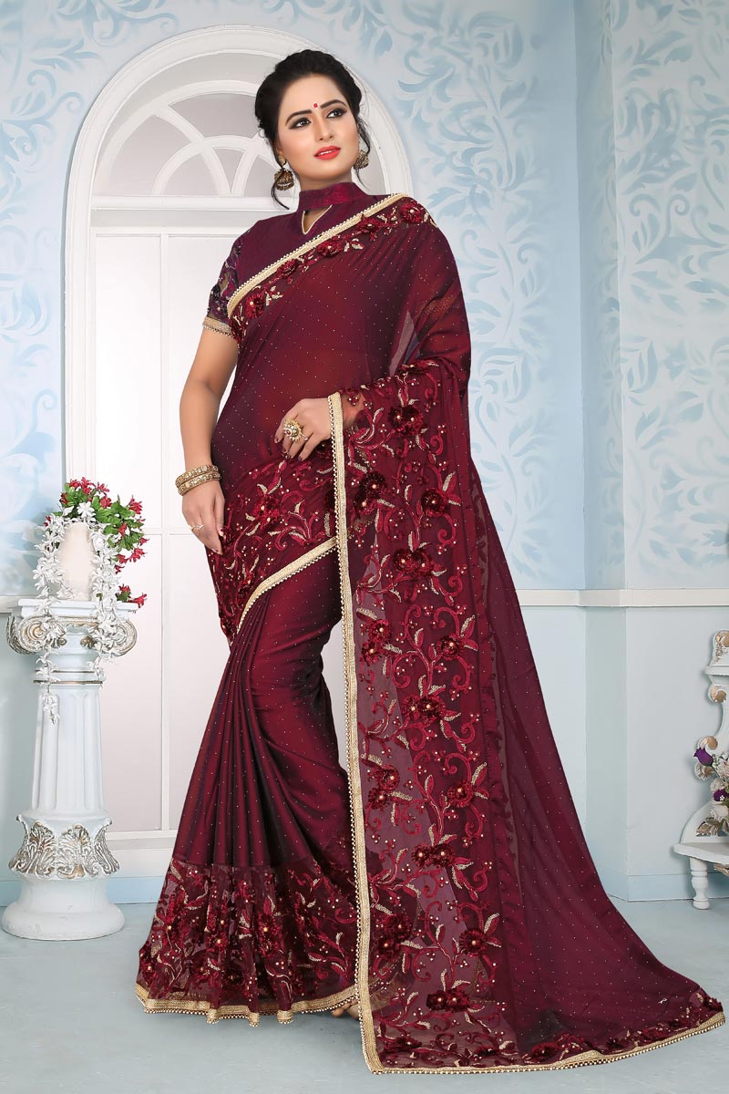 Function Wear Maroon Embroidery Work On Saree In Art Silk Fabric
