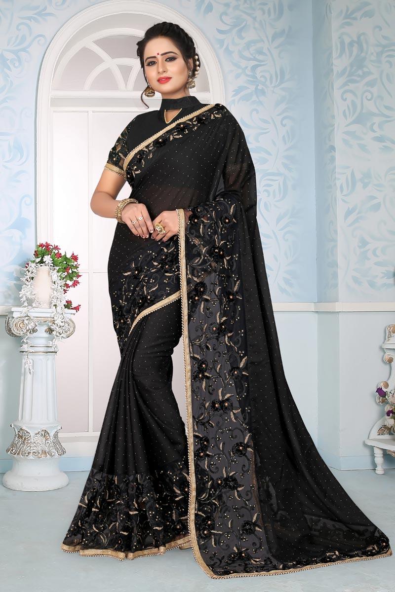 Art Silk Fabric Black Designer Saree With Embroidery Work