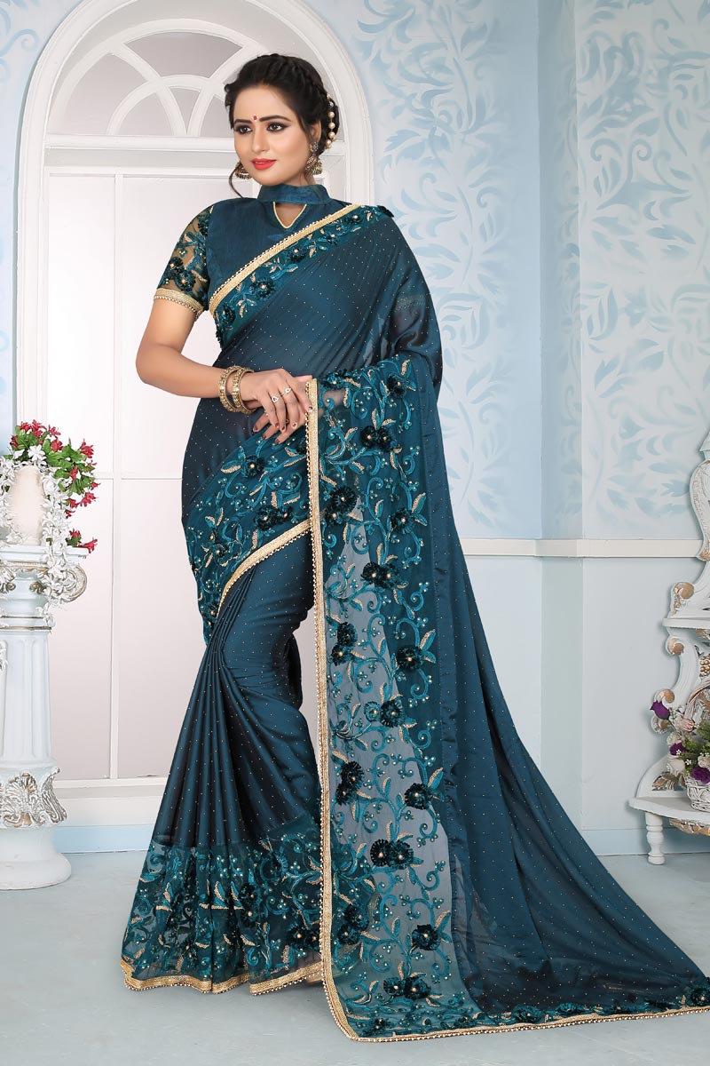 Teal Embroidery Work On Art Silk Fabric Occasion Wear Saree
