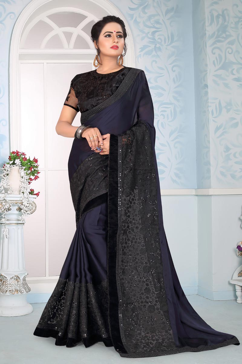 Navy Blue Art Silk Fabric Party Wear Saree With Embroidery Work