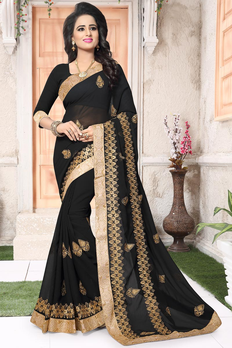 Festive Wear Embroidered Saree In Georgette With Embroidery Work