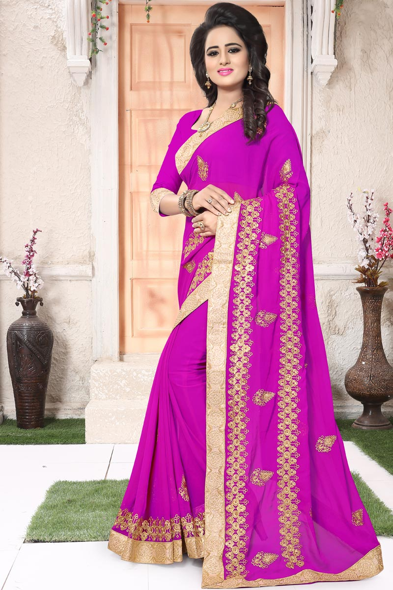 Embellished Magenta Georgette Function Wear Saree With Embroidery Work