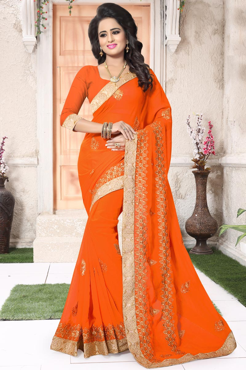 Embellished Orange Designer Saree In Georgette With Blouse