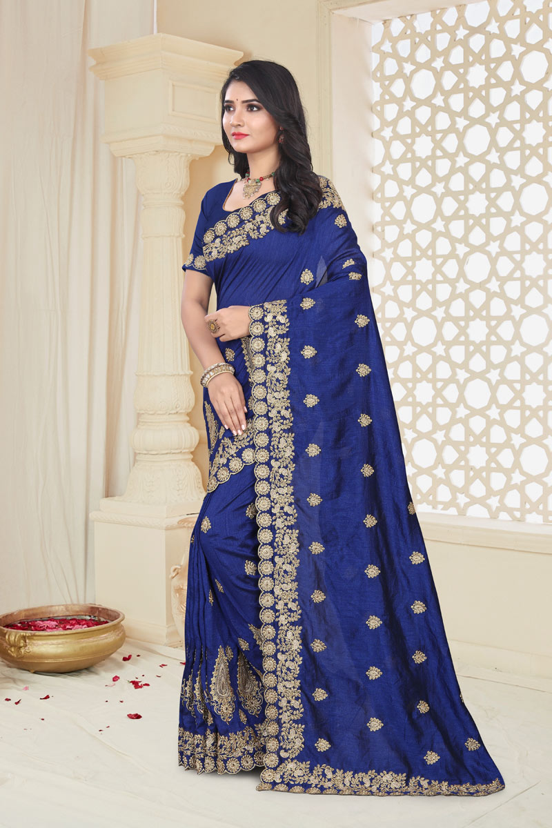 Embroidery Work On Art Silk Fabric Navy Blue Color Function Wear Saree With Marvelous Blouse