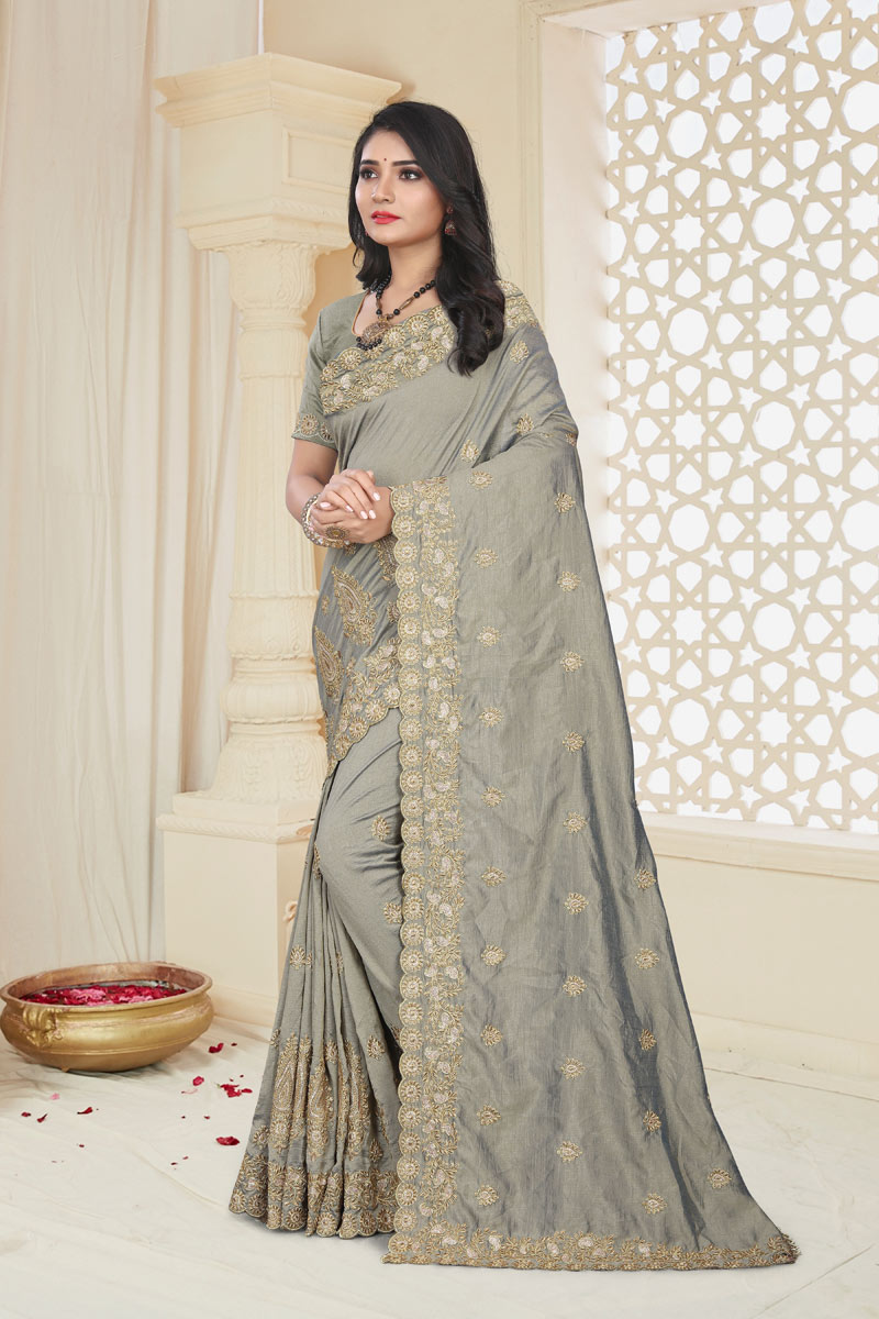 Grey Color Party Wear Saree In Art Silk Fabric With Embroidery Work And Beautiful Blouse