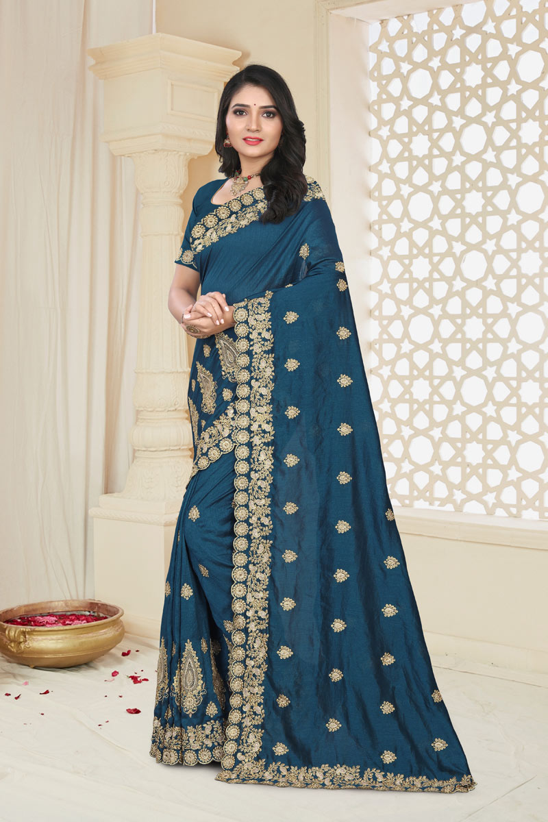 Art Silk Fabric Embroidery Designs On Teal Color Reception Wear Saree With Attractive Blouse
