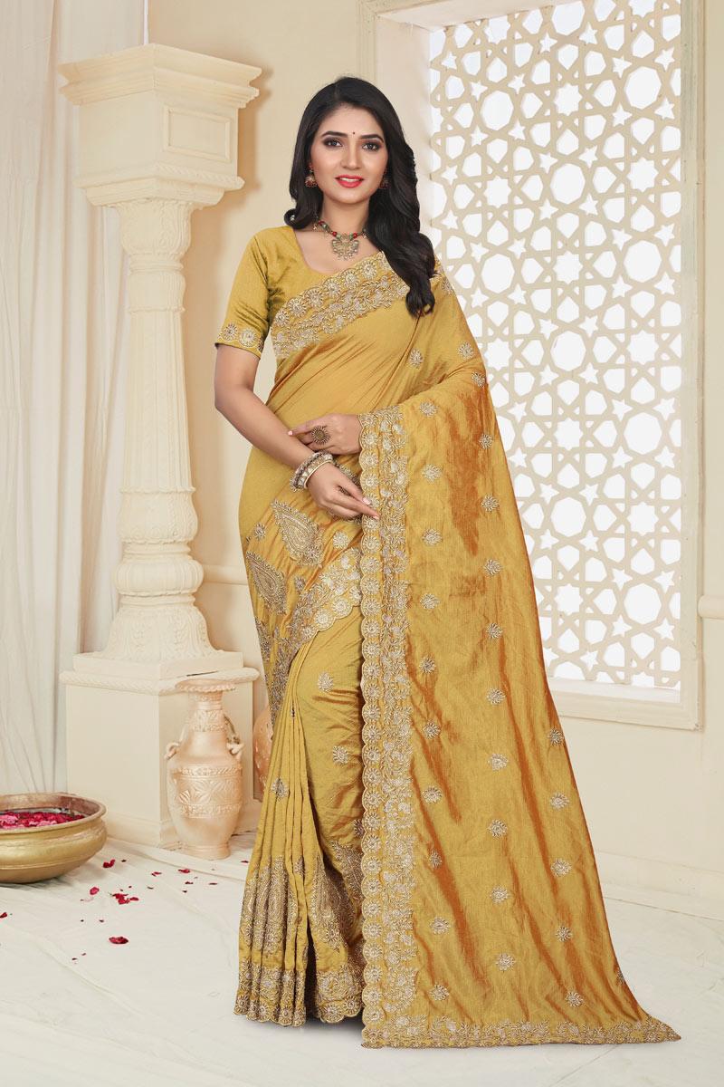 Art Silk Fabric Mustard Color Embroidered Designer Saree With Designer Blouse