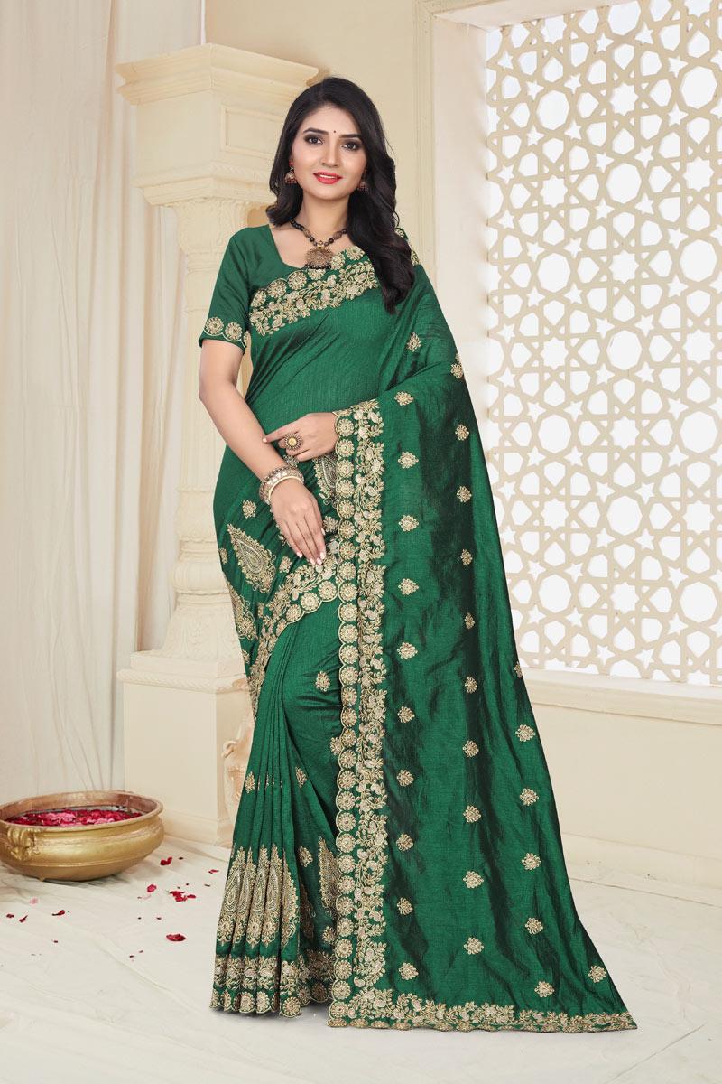 Fancy Embroidery Work On Green Art Silk Function Wear Saree