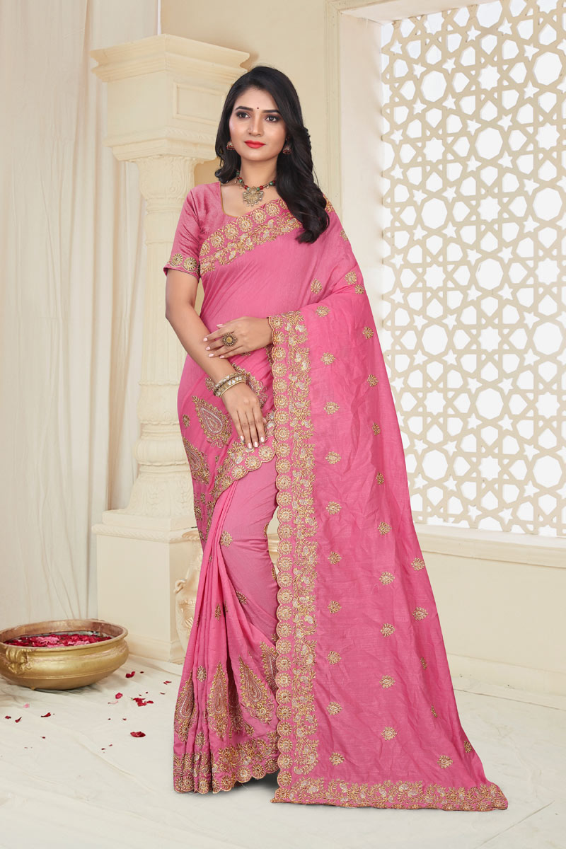 Pink Color Art Silk Fabric Function Wear Saree With Embroidery Work And Astounding Blouse