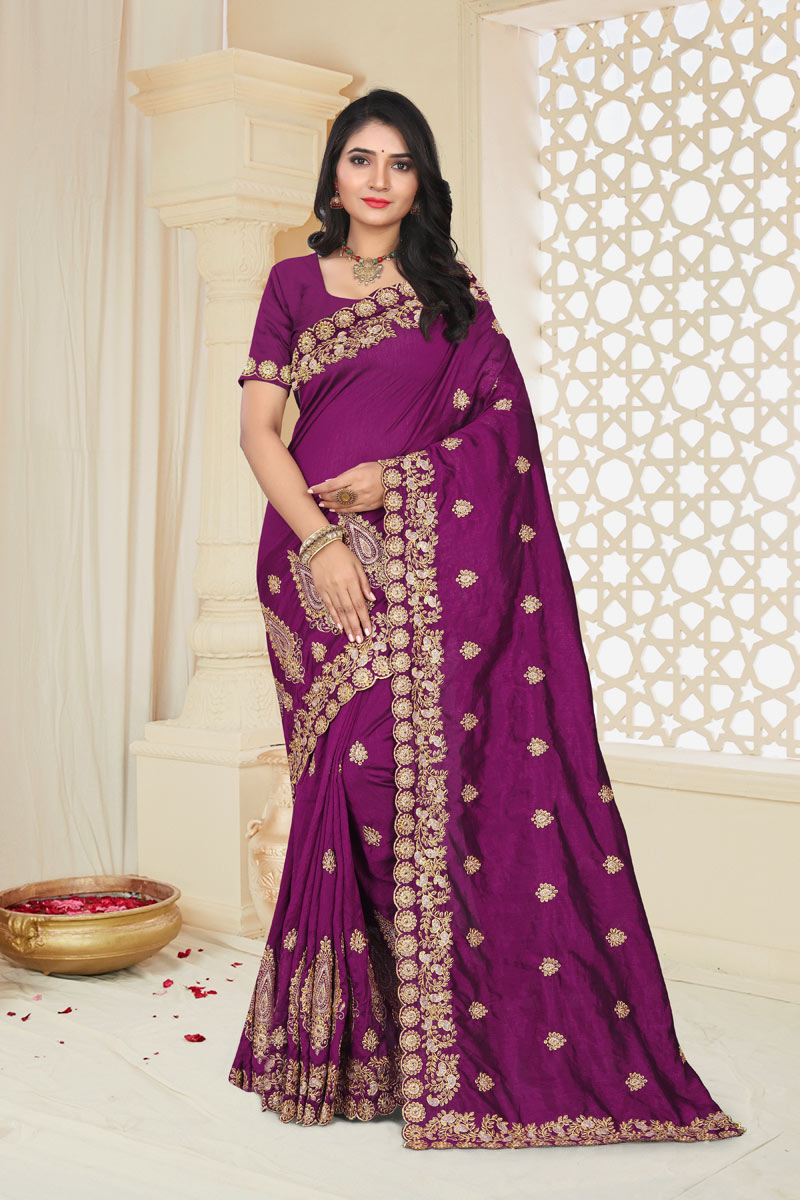 Art Silk Fabric Purple Color Festive Saree With Embroidery Work And Gorgeous Blouse