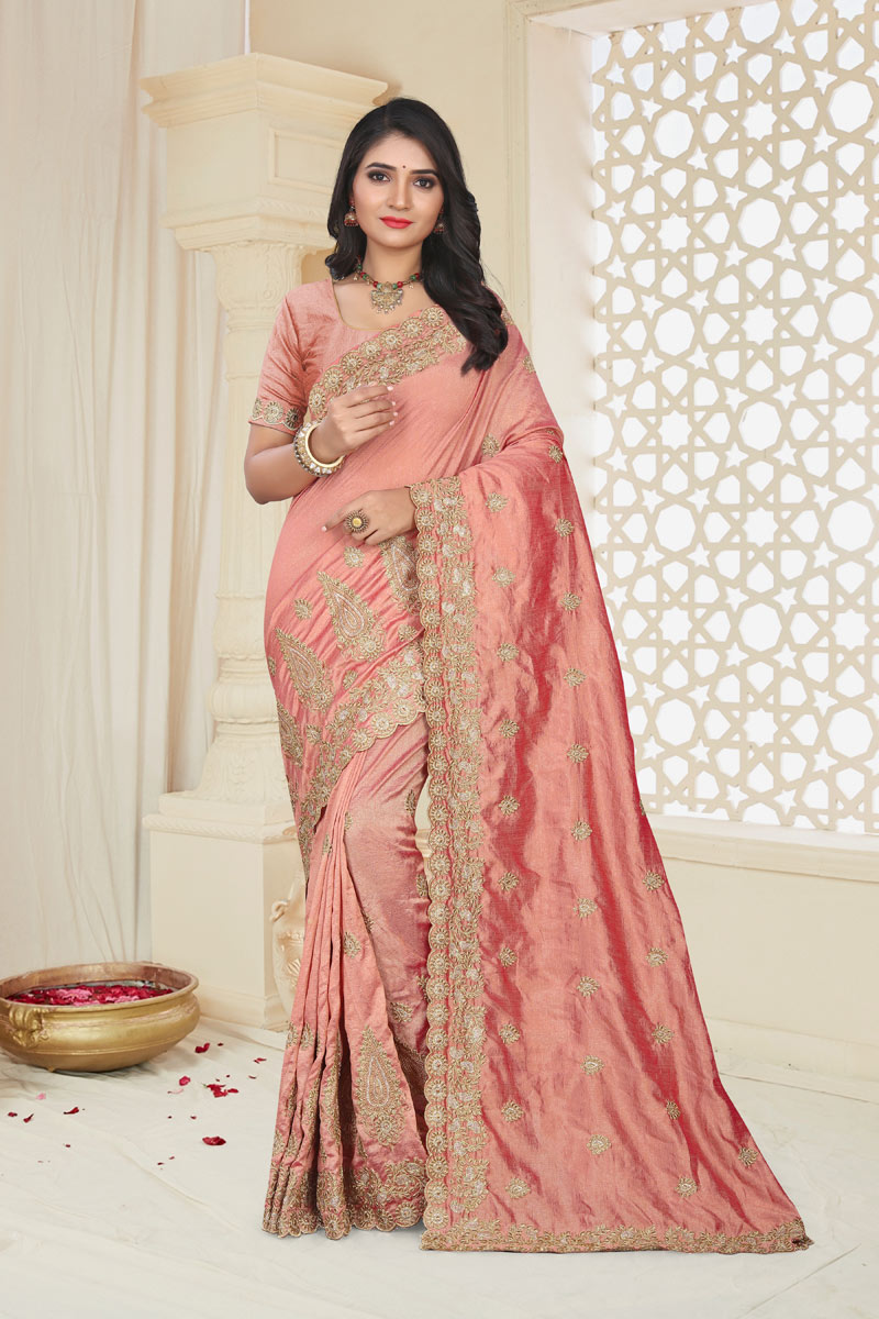 Embroidery Work On Occasion Wear Saree In Peach Color With Designer Blouse