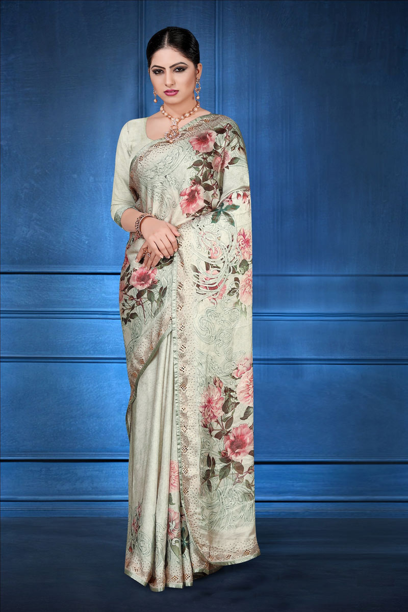 Satin Georgette Fabric Cream Color Fancy Digital Printed Designer Saree