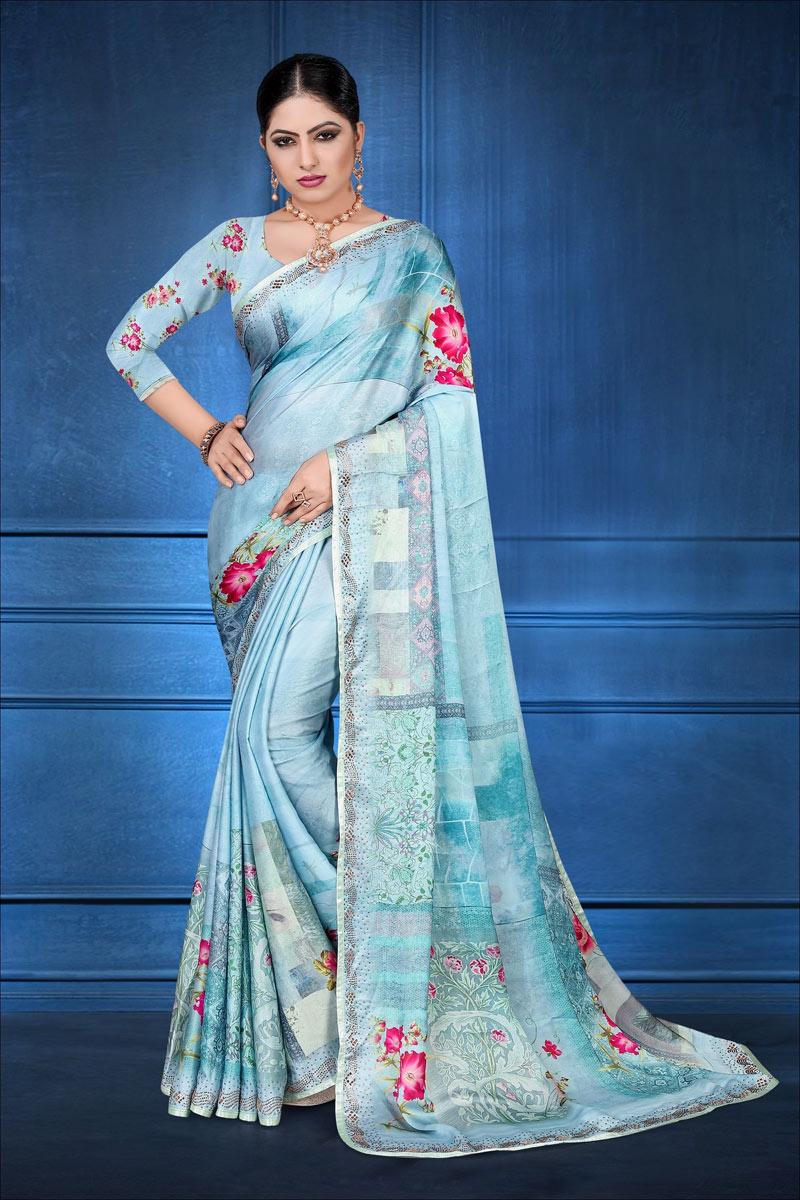 Fancy Digital Printed Sky Blue Color Satin Georgette Fabric Casual Wear Saree