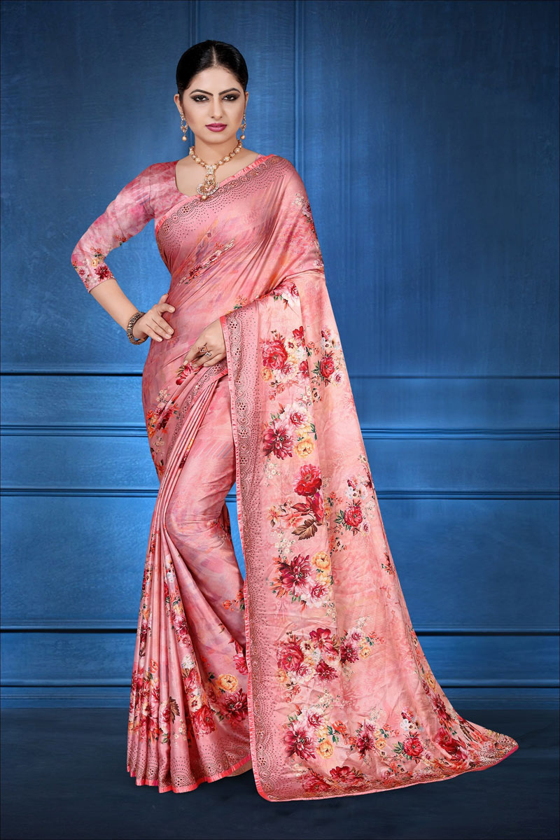 Satin Georgette Fabric Pink Color Fancy Digital Printed Festive Saree