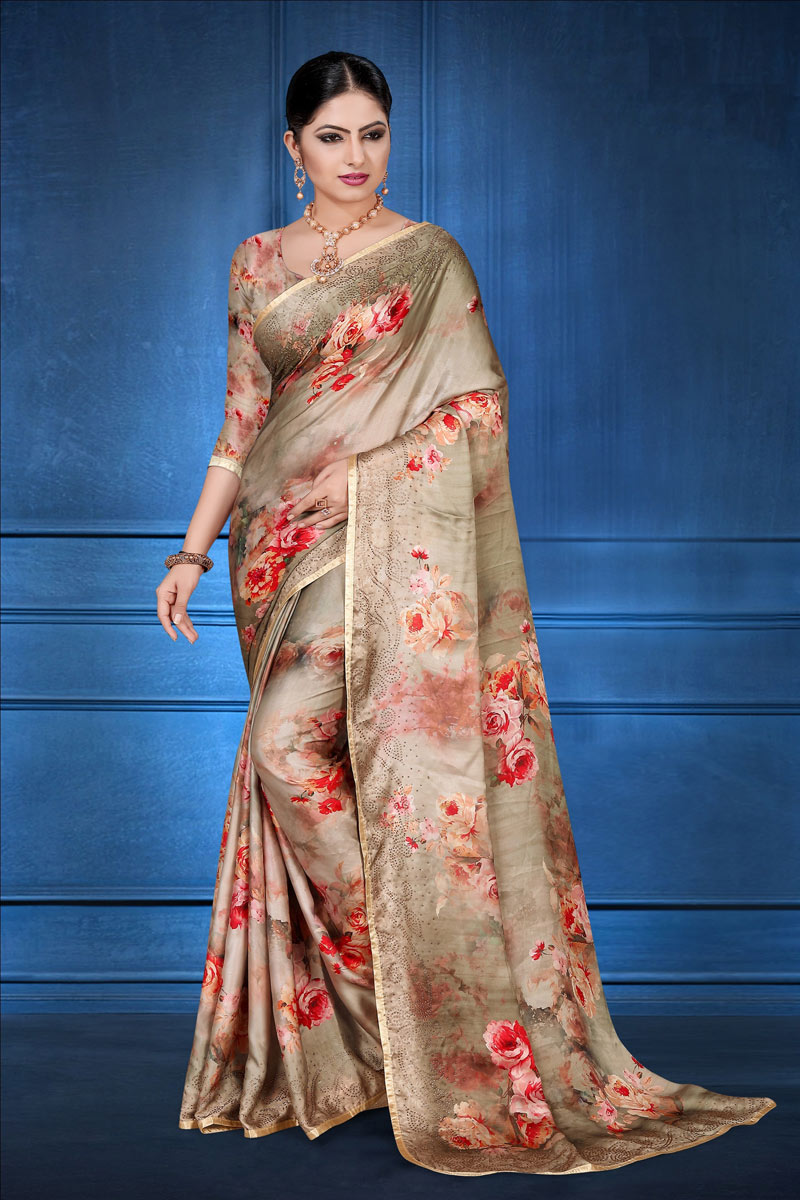 Fancy Digital Printed Occasion Wear Saree In Brown Color