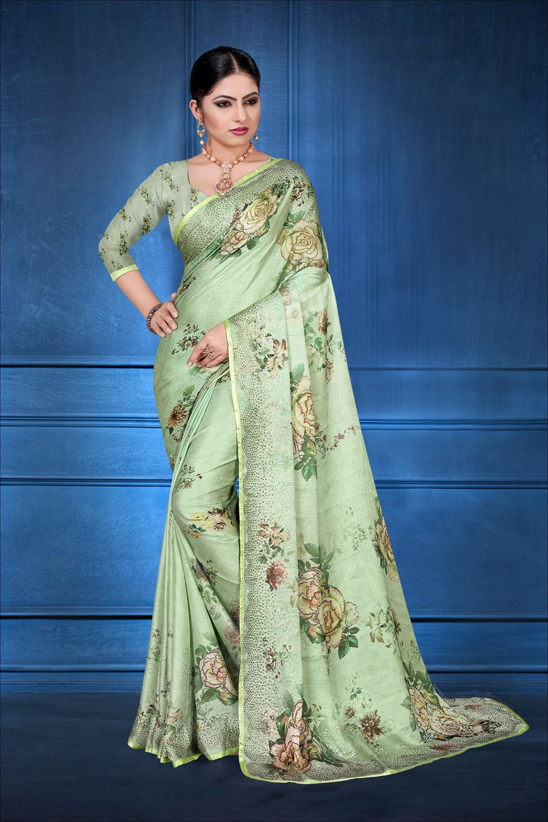 Green Color Satin Georgette Fabric Fancy Digital Printed Daily Wear Saree