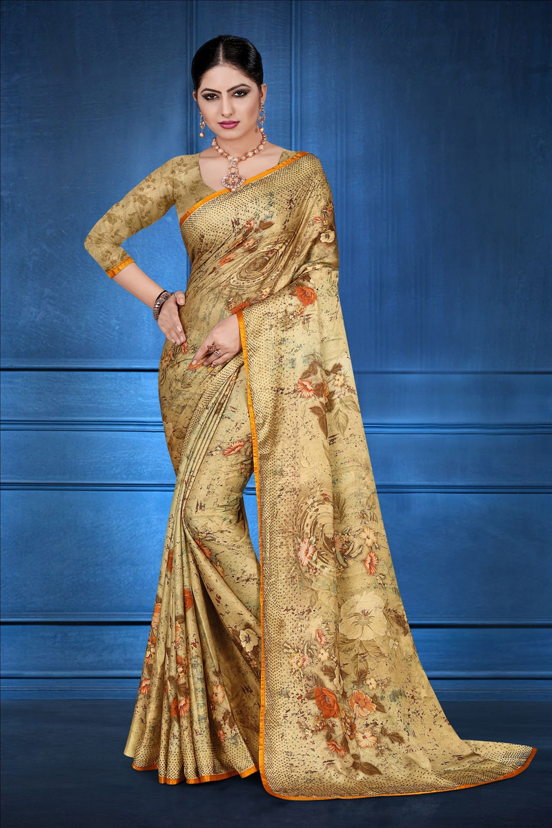 Fancy Digital Printed Daily Wear Saree In Satin Georgette Fabric Brown Color