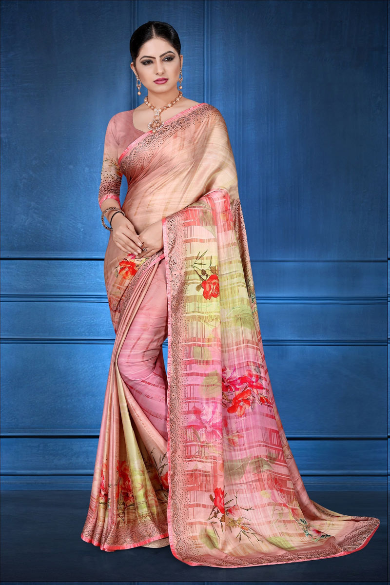 Fancy Digital Printed Pink Color Designer Saree In Satin Georgette Fabric