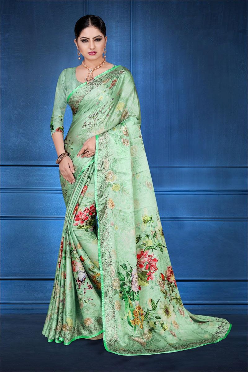 Fancy Digital Printed Satin Georgette Fabric Saree In Sea Green Color