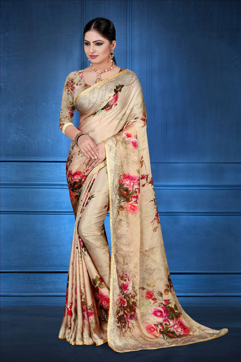 Chikoo Color Casual Wear Fancy Digital Printed Saree In Satin Georgette Fabric