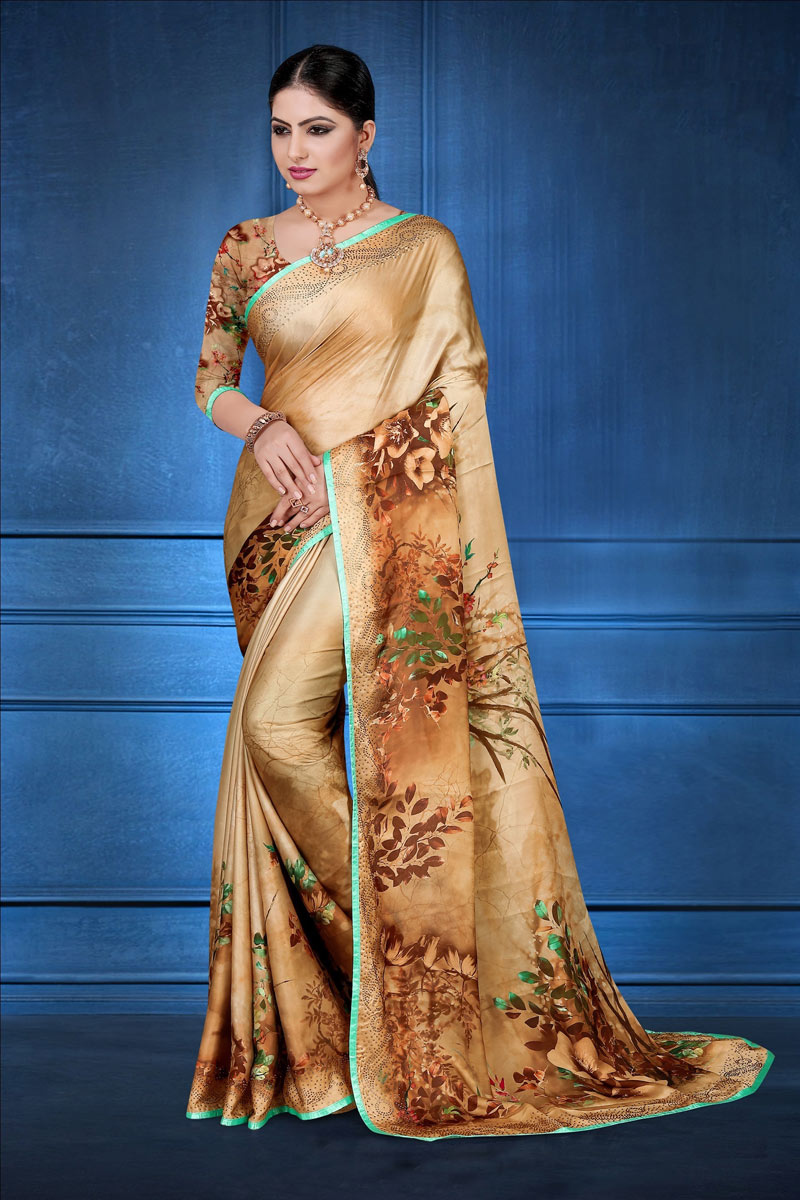 Satin Georgette Fabric Coffee Color Daily Wear Fancy Digital Printed Saree