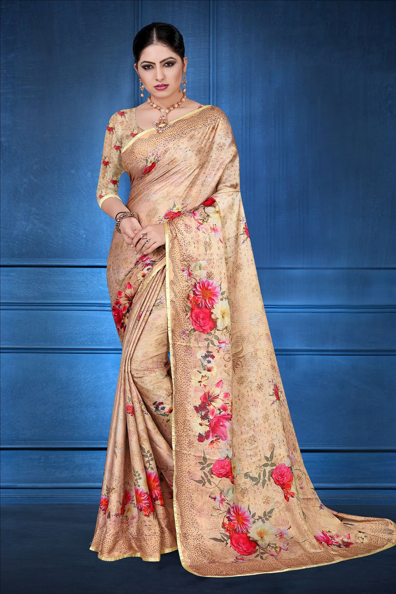 Satin Georgette Fabric Chikoo Color Daily Wear Fancy Digital Printed Saree