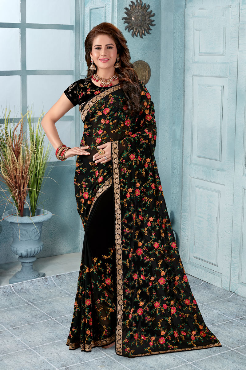 Black Georgette Fabric Function Wear Saree With Embroidery Designs And Gorgeous Blouse