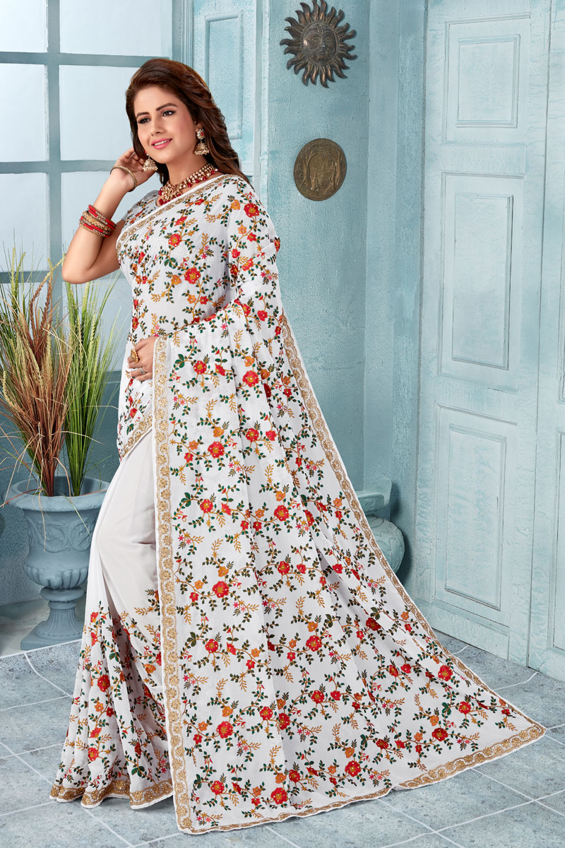 Georgette Fabric White Occasion Wear Saree With Embroidery Work And Attractive Blouse