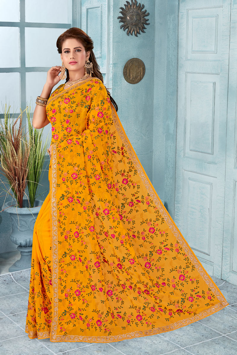 Embroidery Work On Georgette Fabric Designer Saree In Mustard With Attractive Blouse