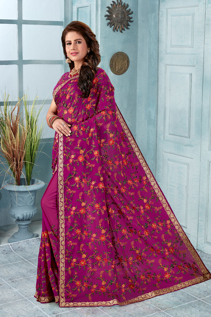 Magenta Party Wear Embroidered Saree In Georgette Fabric With Designer Blouse