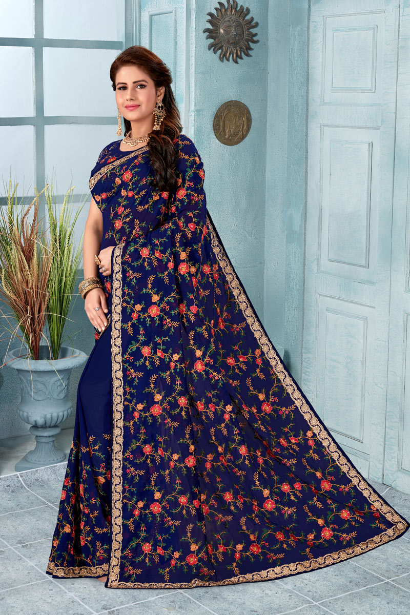 Embroidery Work On Georgette Fabric Navy Blue Designer Saree With Alluring Blouse