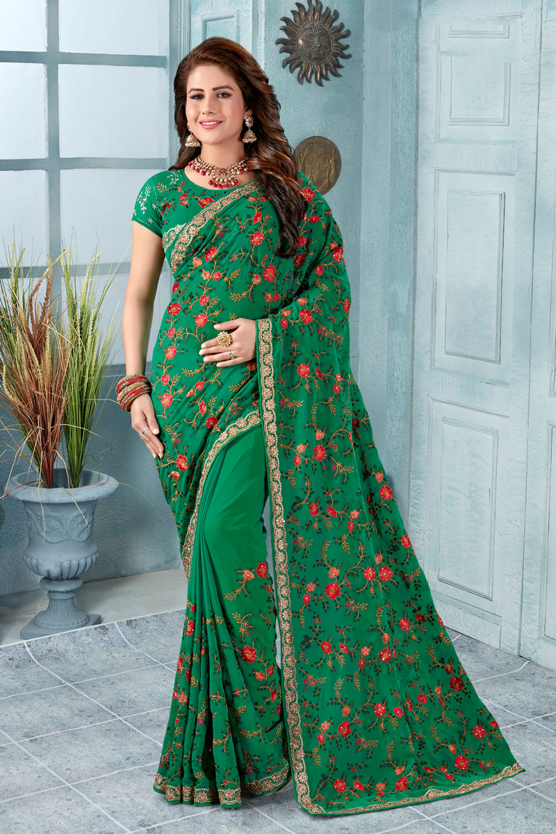 Function Wear Georgette Fabric Embroidered Saree In Green With Party Wear Blouse