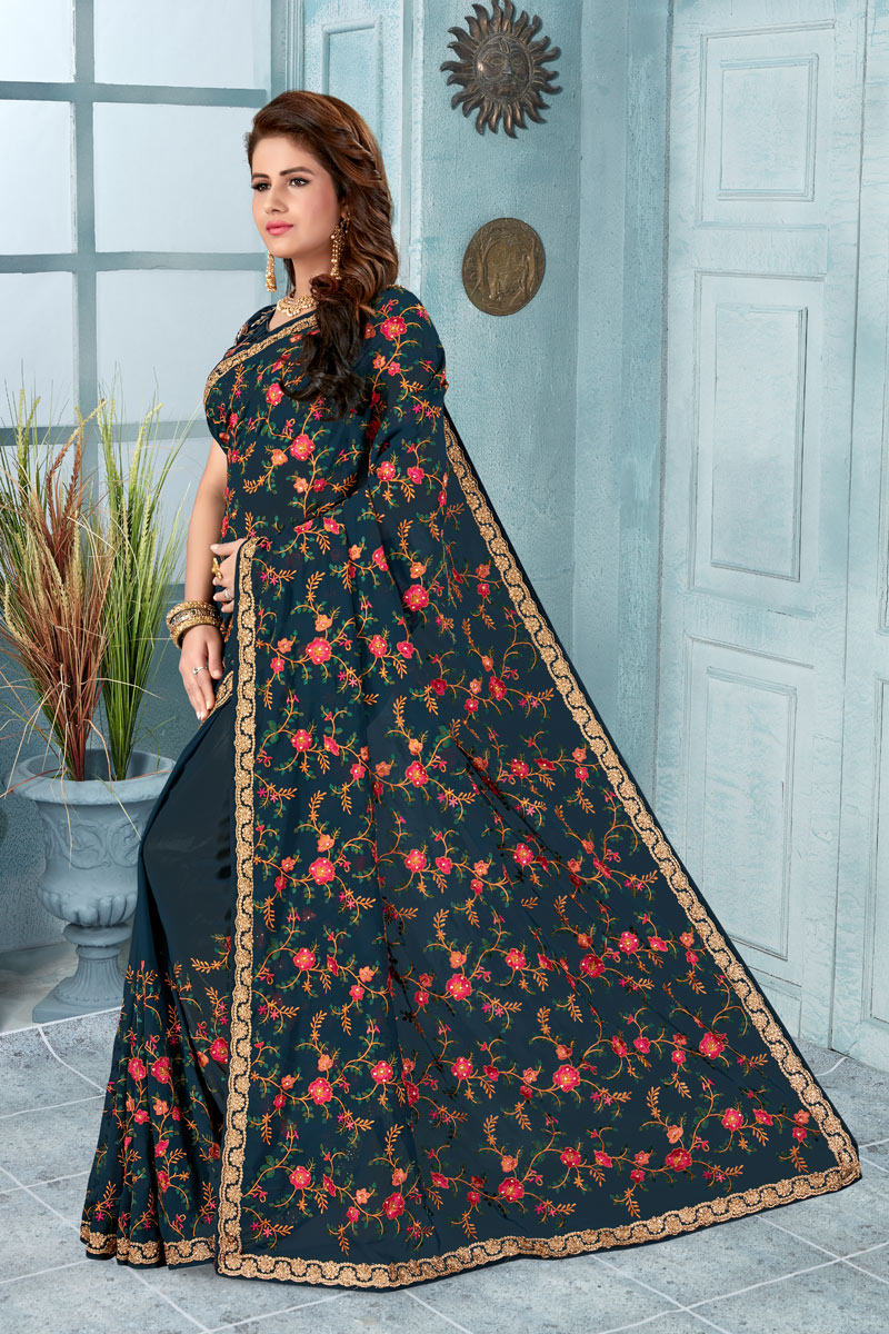Embroidered Georgette Fabric Dark Grey Designer Saree With Mesmerizing Blouse