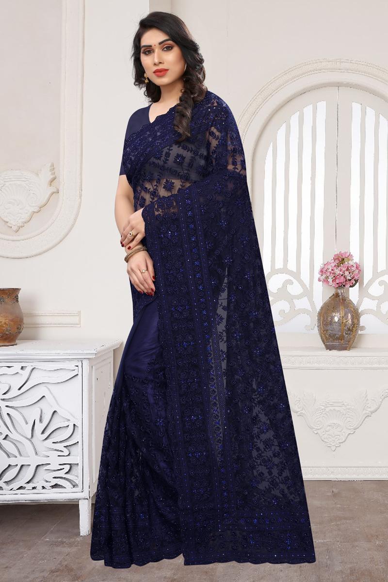 Designer Blue Color Net Fabric Party Wear Saree