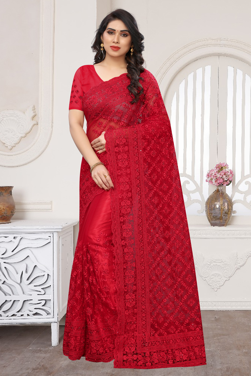 Net Fabric Party Wear Saree In Red Color