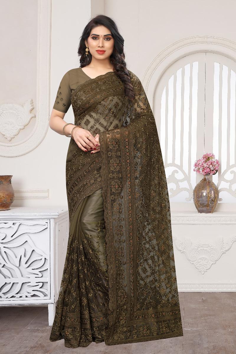 Dark Brown Color Net Fabric Function Wear Saree