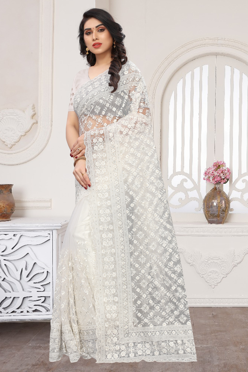 Net Fabric Party Wear Saree In White Color