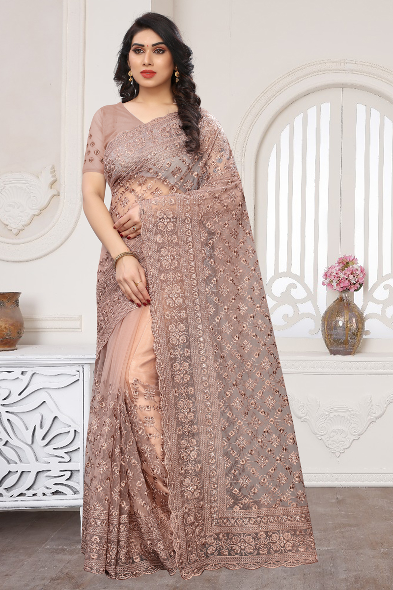 Peach Color Party Wear Saree In Net Fabric