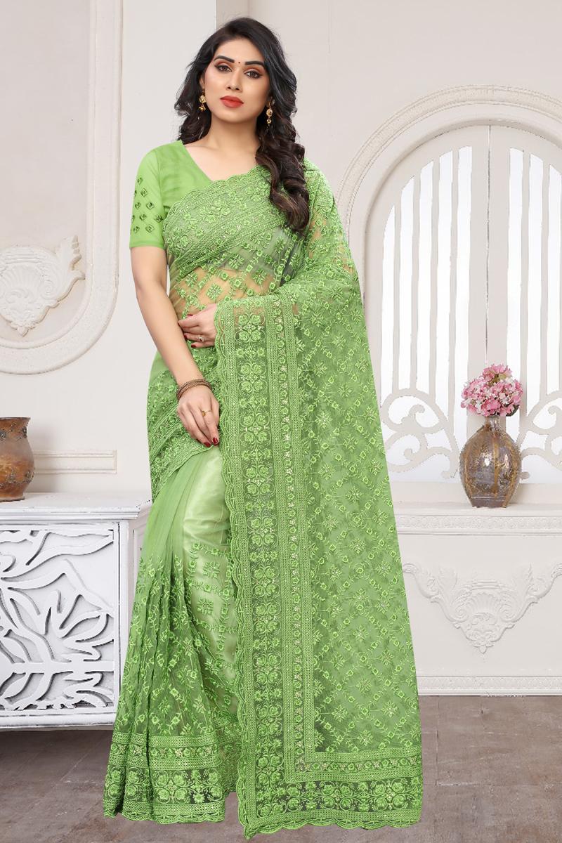 Net Fabric Designer Saree In Green Color