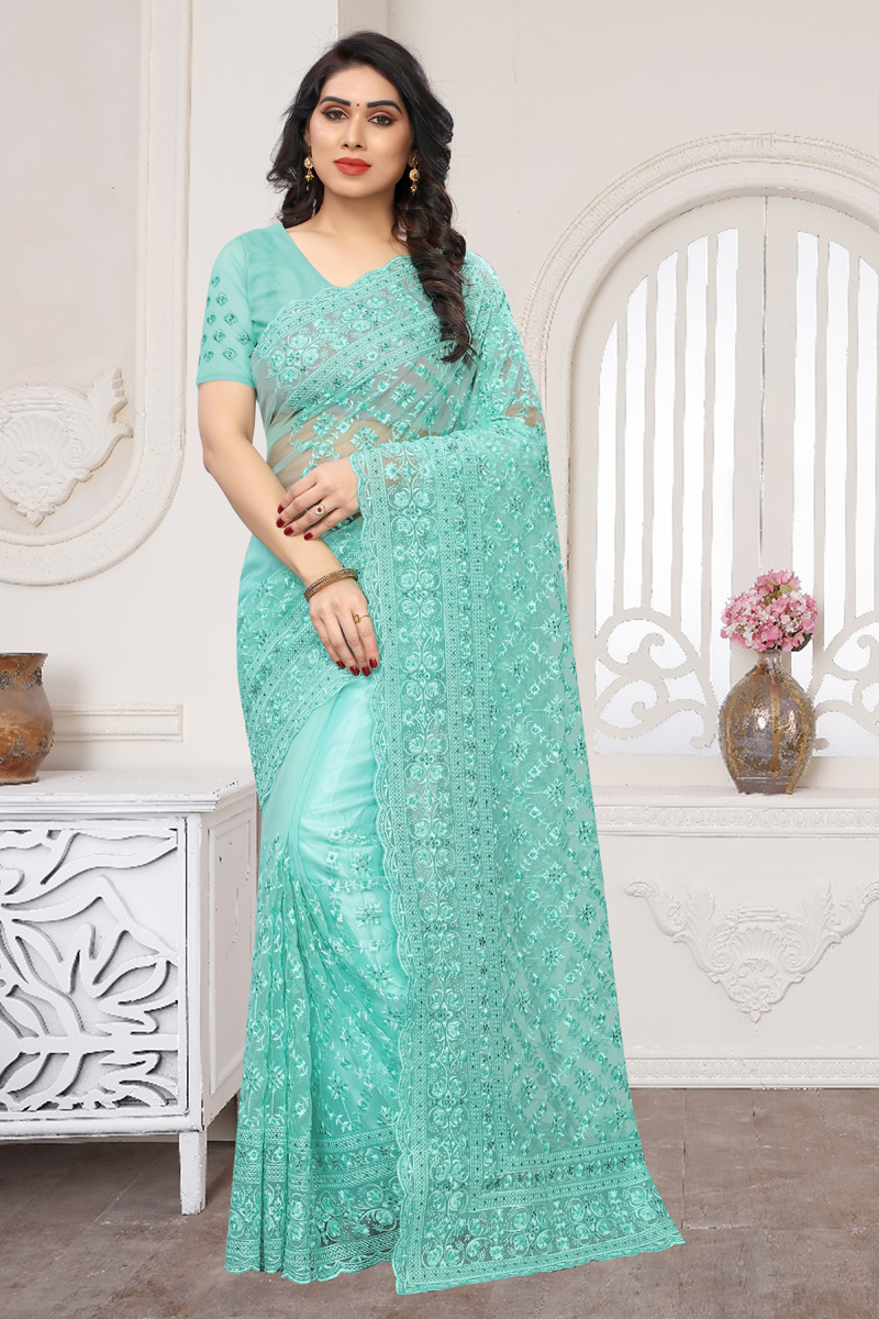 Net Fabric Cyan Color Party Wear Saree